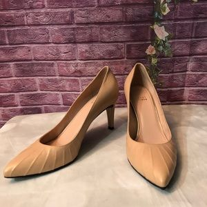 Stuart Weitzman Nude Ribbed Pointed Toe Pumps 8